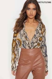 Pretty Little Thing Coloured Snake Shirt