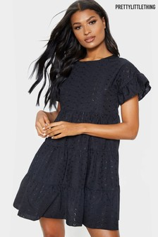 PrettyLittleThing Broderie Smock Dress