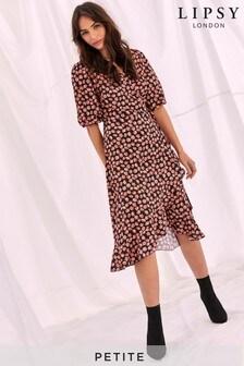 Lipsy Petite Puff Sleeve Wrap Ruffle Midi Dress