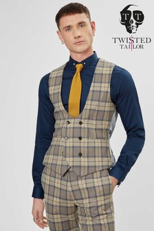 Twisted Tailor Ginger Tartan Suit Waistcoat