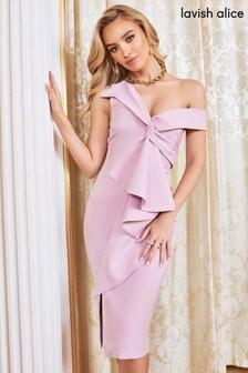 Платье миди с узлом и оборкой Lavish Alice