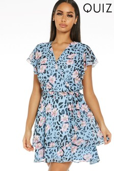 Quiz Satin Animal Print Wrap Dress
