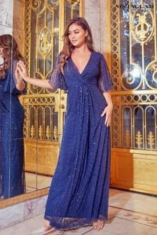 فستان ماكسي مطرز بكم قصير على الكتف منSistaglam