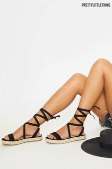 PrettyLittleThing Lace Up Espadrille Flatform Sandal