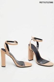 PrettyLittleThing Perspex Strap Block Heel Sandal