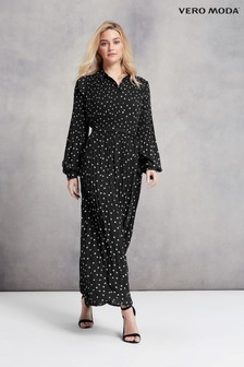 Vero Moda Polka Dot Pleated Maxi Dress