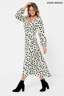 Vero Moda Polka Dot Wrap Midi Dress