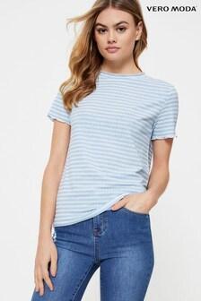 Vero Moda Ribbed Striped Short Sleeve T Shirt