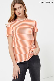 Vero Moda Ribbed Striped Short Sleeve T-Shirt
