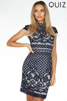 Quiz Lace High Neck Cap Sleeve Midi Dress