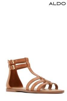 Skórzane sandały gladiatorki z paskami Aldo, na płaskim obcasie