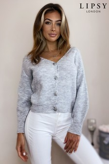 Lipsy Cropped Knitted Diamanté Button Cardigan
