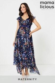 Tehotenské kvetované šaty Mamalicious s čepčekovými rukávmi