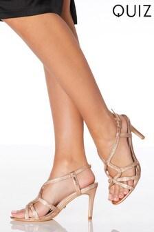 Quiz Diamanté Swirl Detail Heeled Sandal