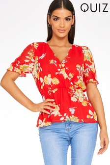 Quiz Floral Wrap Peplum Top