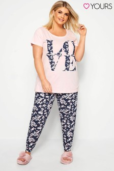 Yours Curve Dancing Butterfly PJ Set