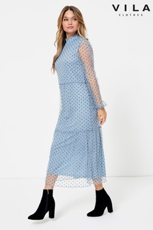 Vila Long Sleeve Midi Dress