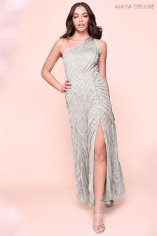 Maya Sequin One Shoulder Leg Split Maxi Dress