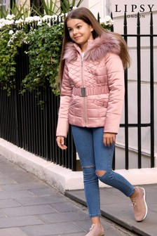 Lipsy Girl Quilted Belted Coat