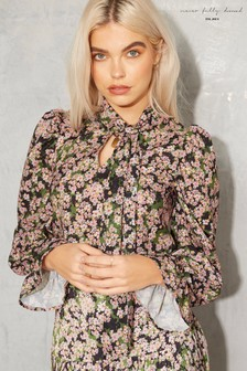 Never Fully Dressed Green Floral Tie Neck Top