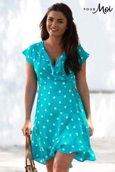Pour Moi Textured Frill Wrap Beach Dress