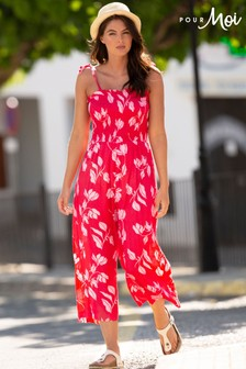 Pour Moi Shirred Crop Leg Jumpsuit