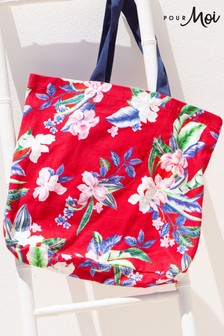 Pour Moi Canvas Beach Bag