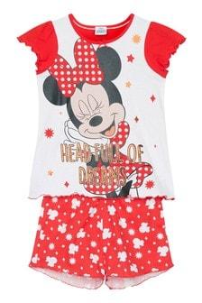 Kids Genius Girls Minnie Mouse Pyjama Shorts Set
