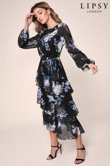 שמלת מידי שכבות מודפסת של Lipsy