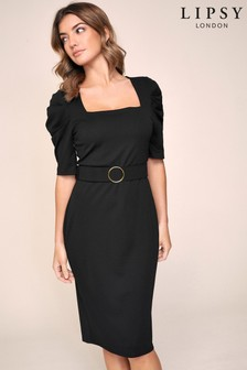 Lipsy Puff Sleeve Belted Dress