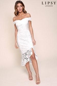 Lipsy Lace Bardot Flippy Hem Dress