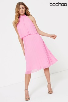 Boohoo Pleated Double Layer Midi Dress
