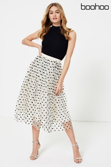 Boohoo Polka Dot Flocked Tulle Midi Skirt