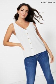 Vero Moda Ärmellose, durchgängig geknöpfte Bluse