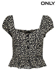 Only Ditsy Sunflower Print Frill Detail Top