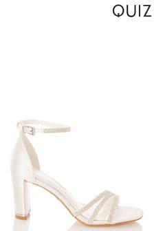 Quiz Bridal Satin Triple Diamanté Square Toe Heeled Sandal