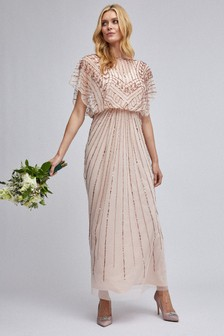Dorothy Perkins Embellished Flutter Sleeve Maxi Dress