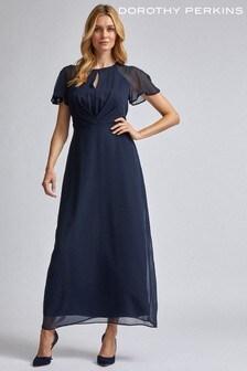Dorothy Perkins Pleat Front Keyhole Angel Sleeve Maxi Dress