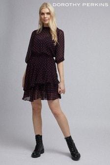 Dorothy Perkins Gepunktetes Chiffon-Minikleid
