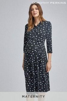 فستان متوسط الطول ملفوف طباعة قلب للحوامل منDorothy Perkins
