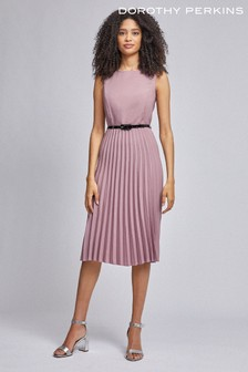 Dorothy Perkins Luxe Dusky Pink Belted Pleat Midi Dress