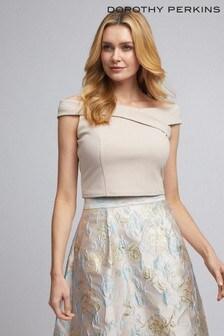 חולצה שלDorothy Perkins דגם Luxe בצבע אפור עם מחשוף כתפיים