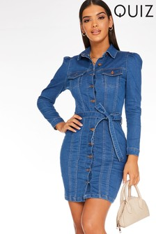 Quiz Denim Button Front Dress
