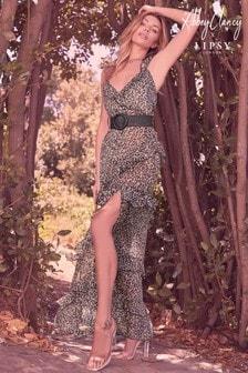 Abbey Clancy X Lipsy Animal Print Ruffle Maxi Dress
