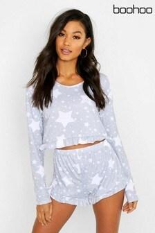Pijama corto con volantes y estampado de estrellas de Boohoo