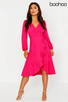 Boohoo Crepe Ruffle Wrap Skater Midi Dress