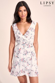 Lipsy Floral Dobby Printed Ruffle Dress