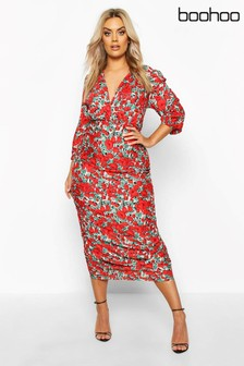 Boohoo Curve Woven Large Floral Rose Ruched Wrap Dress