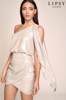 Lipsy One Shoulder Metallic Dress