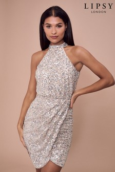 Lipsy Sequin Halter Dress